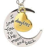 EVRYLON - Collar para Madre e Hija de Mujer con corazón y Luna, 2 Colgantes con Texto Daughter