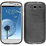 Coque en Silicone pour Samsung Galaxy S3 Neo - brushed argenté - Cover PhoneNatic Cubierta + films de protection