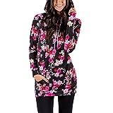 Lover-Beauty Damen Kapuzenpullover Blumen gedrukt Kapuzenpullis Jacke Top Sweatshirt Pullover Tops Jumper L Blumen Rosa