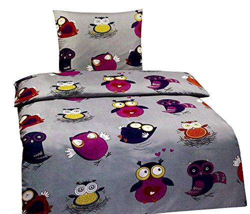 Leonado Vicenti Eule Bettwäsche Microfaser, 135 x 200 und 80 x 80 cm Bezug (Eule Bettwäsche Für Mädchen Schlafzimmer)