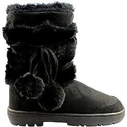 Mujeres Pom Pom totalmente alineada botas piel a prueba de agua nieve del invierno - Negro - 7