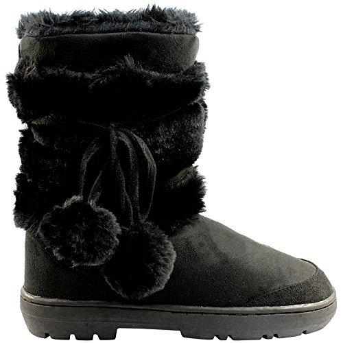 Womens Pom Pom Completamente allineato pelliccia invernale impermeabile Snow Boots - Nero - 4