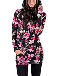 Lover-Beauty Women Floral Print Causel Hoodies Loose Sweatshirt Long Sleeve T-Shirt Oversize