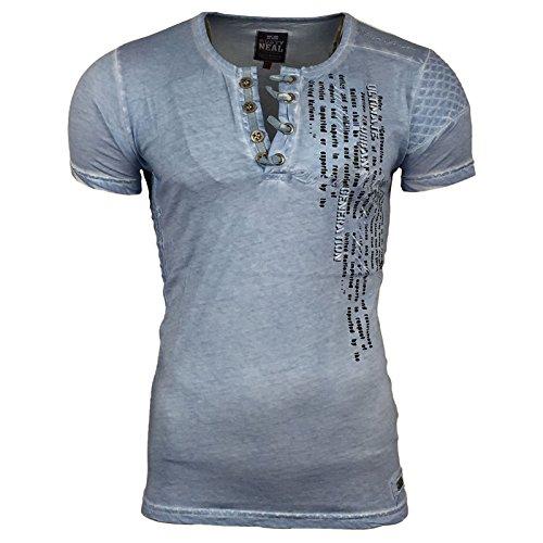 T-Shirt Knopf verschluss Rundhals Polo Anthrazit Grau Grün Türkis A16784 Avroni Türkis