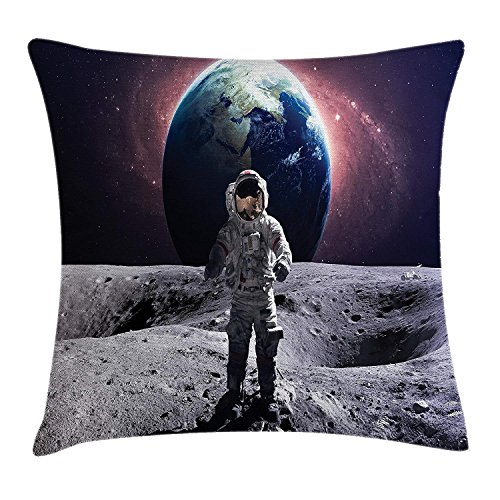 llow Cushion Cover, Brave Astronaut at The Spacewalk on The Moon Surface with Earth Cosmos Art Image, Decorative Square Accent Pillow Case, 18 X 18 Inches, Grey Magenta ()