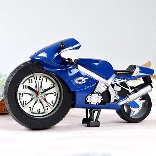 AIZIJI Kinderwecker Schüler kreative Persönlichkeit Bett Wecker faul Uhr Mini-Cartoon Motorrad, blau - Cd-player-wecker Für Mädchen