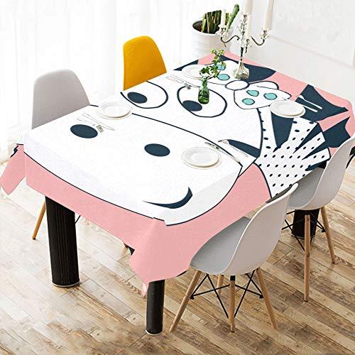 Enhusk Persönliche Tischdecke Zebra glücklich lustige niedliche Baumwolle Print Tischwäsche Tuch Abdeckung Tischdecke für Küche Esszimmer Dekor 60 x 84 Zoll Home Tischdecke