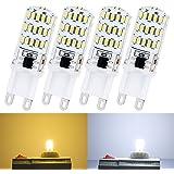 4 piezas 4 W G9 LED Liqoo bombillas de luz blanco cálido 3000 K 280 lumens (equivalente a 25 W) 45 x 3014 SMD 220-240V