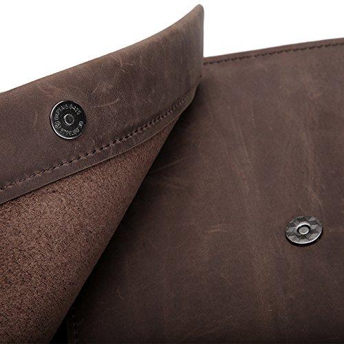 Männer Crazy Horse Leder Tasche Neue Herren Tasche Aktentasche einfach Retro 24 cm * 27 Cm, Braun Braun