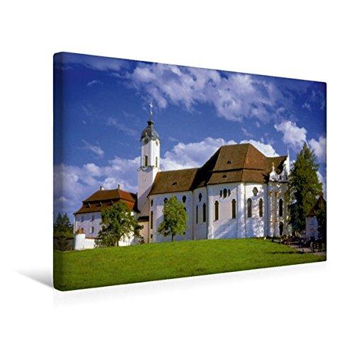 Premium Textil-Leinwand 45 cm x 30 cm quer, Wallfahrtskirche Die Wies, Kunstwerk Bayrisches Rokoko |...