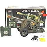 PoshTots Kids Remote Control Antiaircraft Military Series Tank, Full Function, Rechargeable, Mega Size -Brown