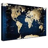 LANA KK Weltkarte Leinwandbild mit Korkrückwand zum Pinnen Der Reiseziele Deutsch Kunstdruck, Mitternacht, 120 x 80 cm