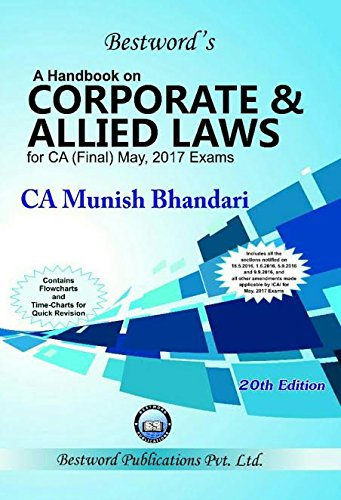 A Handbook CORPORATE & ALLIED LAWS for CA (Final May, 2017 Exam.)