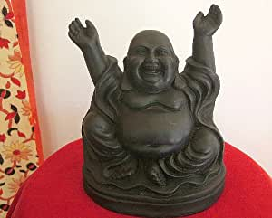 Laughing Buddha Figurine in Black Resin Finish - 19cm tall