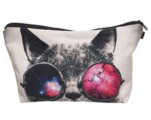 Modische Kulturtasche | Kosmetiktasche | Schminktasche (Make-Up Bag) | Kulturbeutel mit schönen Print-Motiven für Reisen, Urlaub und Alltag (Grau-Weiß (Funky Cat))