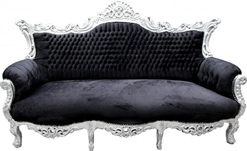 Casa Padrino Barock Sofa Master Schwarz/Silber - Möbel Couch Lounge