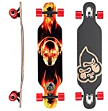 BIKESTAR Premium Canadian Maple Drop Through Flush Cut Pro Longboard Skateboard für Kinder auch Anfänger ab ca. 6-8 Jahre ★ 65mm Kids Cruiser/Dancer Edition ★ Fire Skull Beats Design