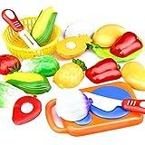 ZREAL 12 Stücke Set Kinder Küche Spielzeug Kunststoff Obst Gemüse Lebensmittel Schneiden Pretend Spielen Frühe Pädagogische Kinder Spielzeug