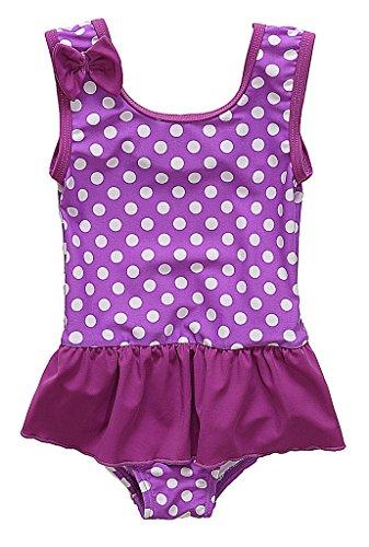 CharmLeaks Baby - Mädchen Einteiler Badeanzug UV-Schutz Violett Mit Pünkte 6-12 Monate Punkte 9