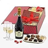 Romantischer Präsentkorb zum Valentinstag mit Prosecco & edler Schokolade