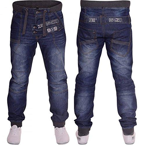 Herren Designer Jogger-Jeans, mit Bündchen Mid Stonewash Blue