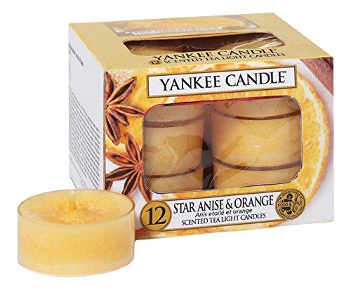 YANKEE CANDLE Etoilé/Boîte DE 12 lumignons Plastique/Cire Orange 8,8 x 8,5 x 6,3 cm