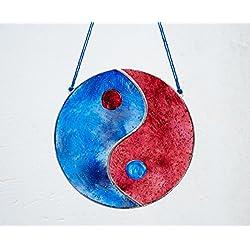 Yin Yang Vidriera - Tiffany - Feng Shui - Símbolo Taoísta - Atrapa luz - Colgar en la ventana - Colgar en la pared - Colgar en el techo - Decorativo - Vidrio pintado a mano