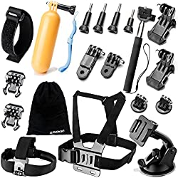 Zookki Kit d'accessoires pour caméra de Sport GoPro Hero 5/4/3/2/1, SJ4000, SJ5000, SJ6000, Xiaomi Yi, Lightdow, WiMiUS, DBPOWER