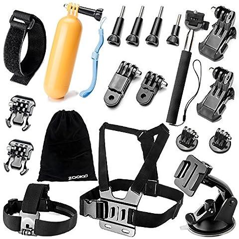 ZOOKKI-Camera-Accessory-Kit-for-GoPro-Hero-4-3-3-2-1-SJ4000-SJ5000-SJ6000-Black-Silver-19-Items