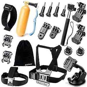 Zookki Kit di accessori per GoPro Hero 43+ 321Nero Argento SJ4000SJ5000SJ6000, Kit per Sport all' aperto per xiaomi yi/Lightdow/wimius/DBPOWER