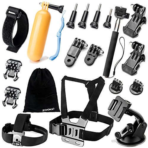 ZOOKKI Camera Accessory Kit for GoPro Hero 4/3 / 3/2/ 1/ SJ4000/ SJ5000/ SJ6000 - Black Silver (19 Items)