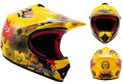 "ARMOR · AKC-49 ""Yellow"" (Gelb) · Kinder-Cross Helm · Enduro Kinder Off-Road Sport Motorrad Moto-Cross · DOT certified · Click-n-Secure™ Clip · Tragetasche · S (53-54cm)"