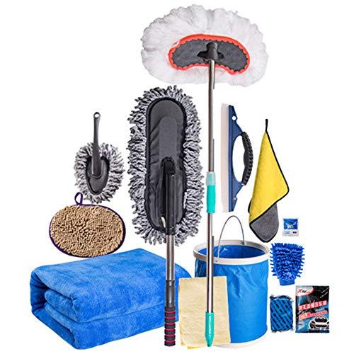 Nuoyi 11Pcs Car Cleaning Kit, inklusive Autozubehör Reinigung Auto Powder Kit Chenille-Handschuhe Handtuch Eimer Wachs Mopp Hirschleder Handtuch Staubmilben