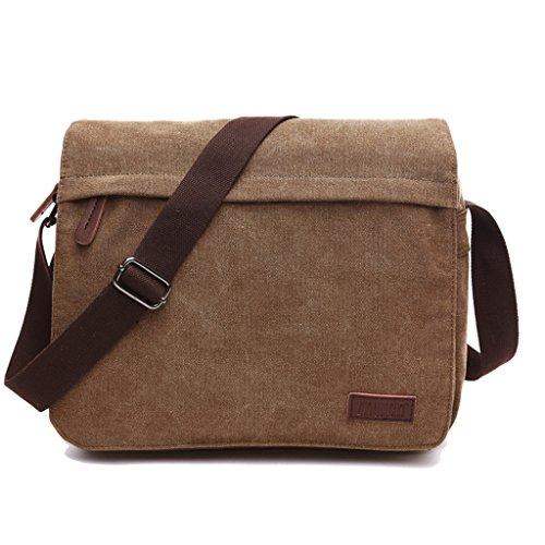 Super Modern Leinwand Messenger Bag Umhängetasche Laptop Tasche Computer Tasche Umhängetasche aus Segeltuch Tasche Arbeiten Tasche Umhängetasche für Männer und Frauen, Herren, Coffee Large