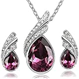 fashion jewelry set Swarovski Crystal necklace and earrings drill flash jewelry - Purple