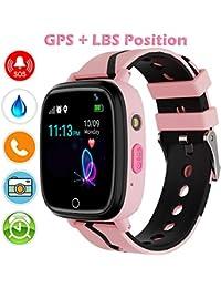 Kinder Uhr Smart Watch, GPS Telefon Uhr, LBS Smartphone mit SOS Notruf Telefon Funktion Voice-Chat Telefonieren, Mitteilungen Senden und Empfangen Telefonuhr für Kinder (Pink)