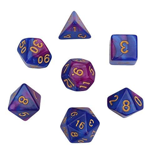 GLOGLOW 7pcs Polyhedral Würfel, Bunte Tabelle RPG-Spiele D & D Würfel Set unregelmäßige Form Polyhedral Würfel Spielzeug Spiel Spielen Zubehör(Lila-Blau)