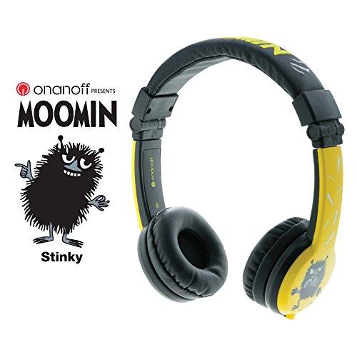 Lautstärke Reduzierende Kinderkopfhörer von Onanoff - Moomin Collection von BuddyPhones | Robust, Faltbar & Bequem | Mit eingebautem Mikrofon und Splitter | Ideal für iPad, Kindle, Computer, Tablets, Handys und mehr | Stinky (3 Ipad Minnie)