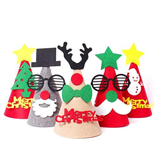 JUSTDOLIFE 5 STÜCKE Weihnachtsmütze Kreative Nette Karikatur DIY Filz Kostüm Hut Party Hut für Kinder (Nette Kreative Kostüm Kinder)