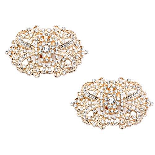 Duosheng & Elegant CJ Diamante espumoso Pinzas para zapatos Diseño floral Diamantes de imitación Boda...