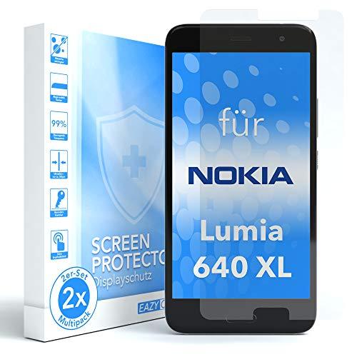 EAZY CASE 2X Panzerglas Displayschutz 9H Härte für Nokia Lumia 640 XL Dual SIM, nur 0,3 mm dick I Schutzglas aus gehärteter 2,5D Panzerglasfolie, Displayschutzglas, Transparent/Kristallklar