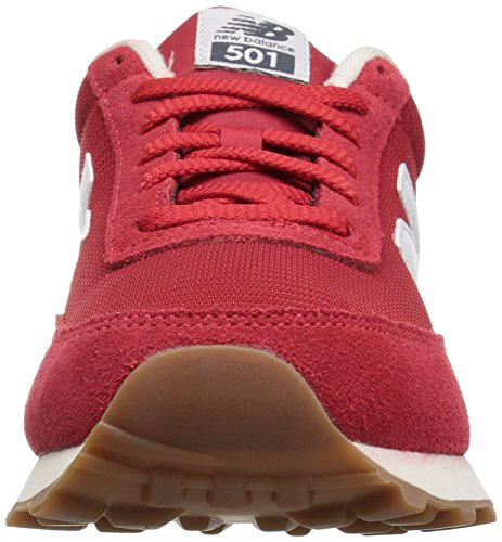 New Balance Mens 501 Running Classics Suede Trainers Rot Weiss