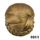 PrettyWit Hair schmuck Haar Hochsteckfrisur Haarteil Pferdeschwanz Erweiterungen Hair Chignons Bridal Zöpfe Stück Perücke (Chocolate Brown & Strawberry Blonde 1011)