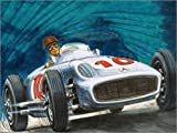 Reproduction sur toile 130 x 100 cm: Juan Manuel Fangio driving a Mercedes-Benz de English School / Bridgeman Images - Reproduction prête à accrocher, toile sur châssis, image sur toile véritable p...