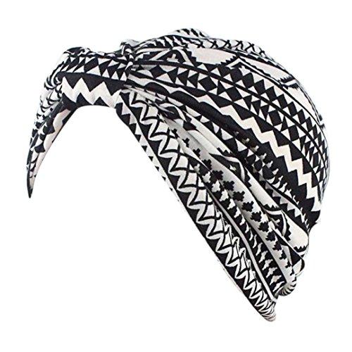 Cap Transer® Damen Hüte Make-up Baumwolle Stretch Turban Schal Hut Wrap Hijib Drucken Bananen Blatt Punkt Mützen mit Knoten (E) (Leinwand Knoten)