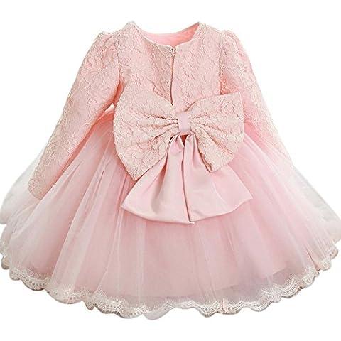 Kleinkinder Baby Mädchen Kleid IHRKleid® Blumenspitze Prinzessin Kleid Hochzeit Partykleid Taufkleid Tüll Festzug (100, 3 Jahren, Reines Rosa)