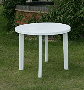 Round Garden Table Only In White Resin Patio Furniture Outdoor Dining Bistro