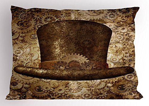 Victorian Pillow Sham, Steampunk Hat Fantasy Science Fiction Concept Metal Copper Gears Cogs Print, Decorative Standard Queen Size Printed Pillowcase, 30 X 20 Inches, Brown Sand Brown