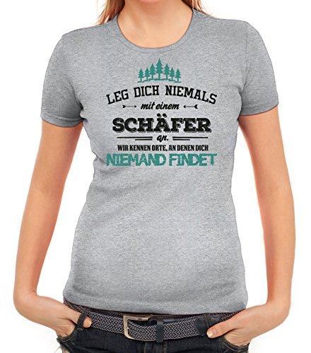Jubiläums Geschenkidee Damen T-Shirt mit Schäfer - wir kennen Orte Motiv von ShirtStreet Graumeliert