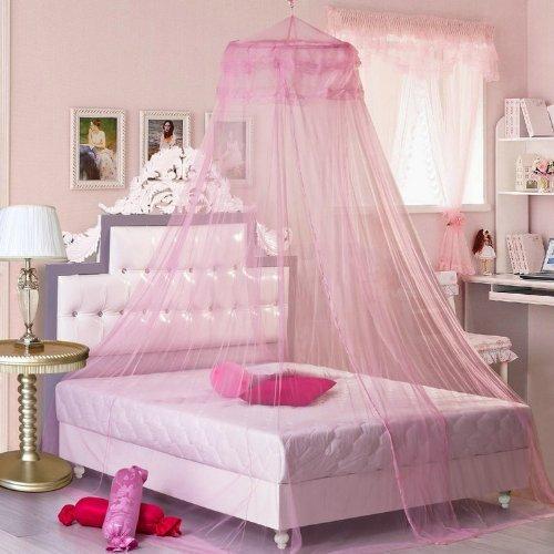 NO:1 Mode Spitze Vorhang Kuppel Bett Baldachin Netze Moskitonetz Bett Zelte Bettvolant - Rosa